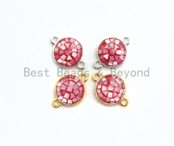 100% Natural Hot Pink Shell Round Connector with Gold/Silver Plated Edging, Fuchsia Spacer Connector, Shell Charm, 10x15mm,SKU#Z283