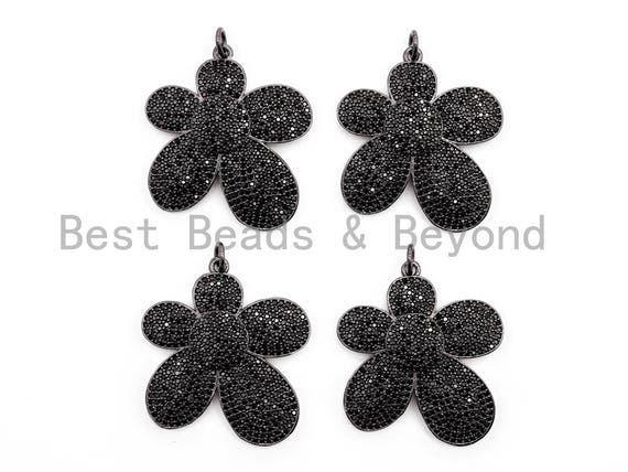 Black CZ Pave On Black Micro Pave Flower Charm Beads, Cubic Zirconia Pendant,32mm, sku#F393