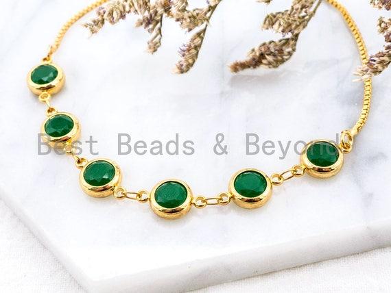 Sliding Adjustable Chain Bracelet, 8mm Green Jade bracelet, Link bracelet, Silver Gold Black Bracelet, Gem Beaded Bracelet, SKU#A47