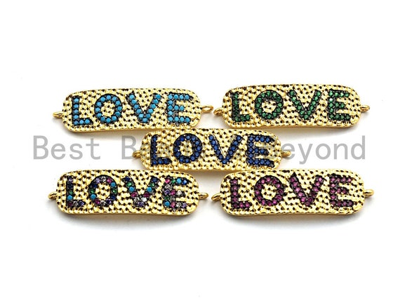 Colorful Cz Micro Pave Bar With LOVE Letter Connector,Cobalt/Fuchsia/Turquoise/Green/Multicolor Pave Connector,10x35mm, sku#E485
