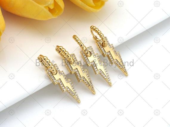 CZ Micro Pave Dangle Lightning Earring, 18K Gold Filled Huggie Earrings, CZ Earrings, 19x4mm, Sku#J326