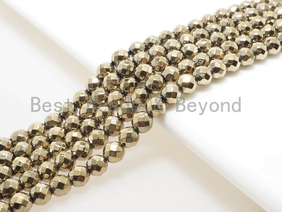 Pyrite Color Gold Hematite Faceted Round beads, Round 2mm/3mm/4mm/6mm/8mm/10mm/12mm, Natural Gemstone Beads, 16 inch Full strand, SKU#S93