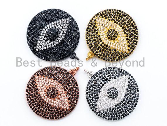 CZ Micro Pave Black Evil Eye on Disc Round Charm/Pendant, Black CZ in Black, Gold Rose, Gold, Silver Finish, 26x32mm,sku#L3