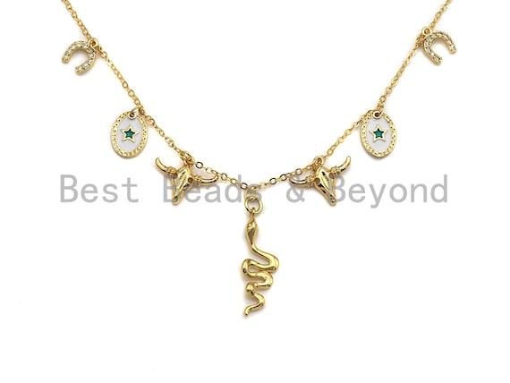 Gold Necklace with Snake Star Lucky Horse Shoe Charm, Snake Layering Necklace, Bull head necklace, Dainty Necklace Choker, sku# Z707