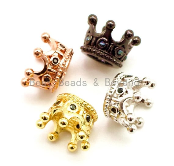 CZ Crown Black Micro Pave Beads, Cubic Zirconia Spacer Beads, Crown Beads,10x7mm, sku#G163