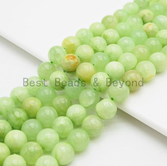 Lime Green Jade Round Smooth Beads, 6mm/8mm/10mm/12mm, Green Gemstone Beads, 15.5inch strand, SKU#U341