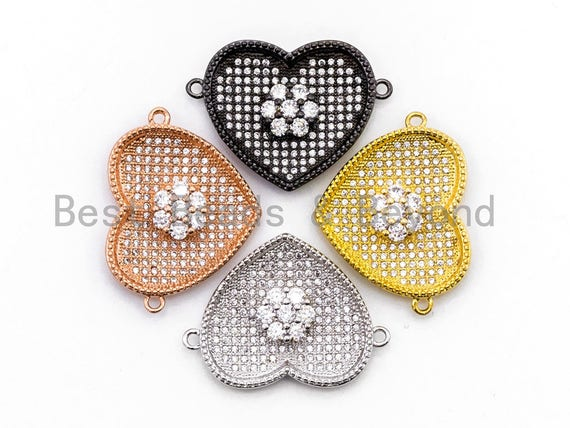 Clear CZ Micro Pave Heart Shape With Flower Connector for Bracelet/Necklace, Cubic Zirconia Space Connector, CZ Pave Beads,21x28mm, sku#Y35