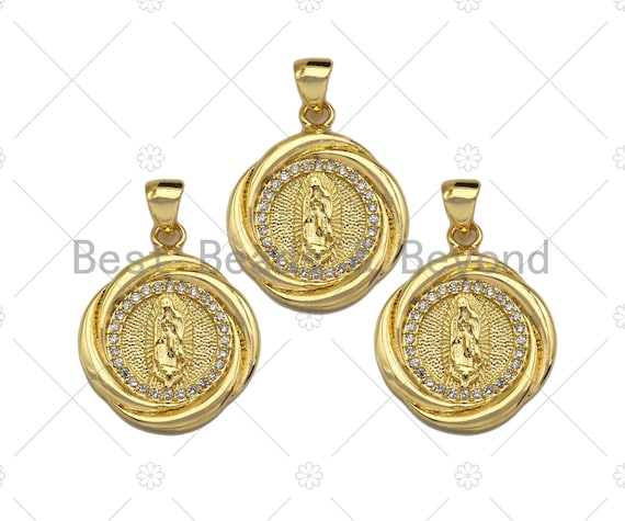 18k Dainty Gold Virgin Mary On Round Flower Shape Charms, Dainty Charms, Gold Pendant, Round Flower Necklace Charms, 18x21mm, Sku#LK168