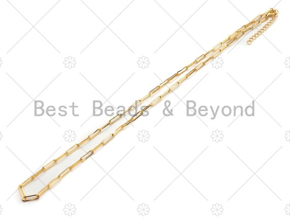 """16""""/7"""" Dainty Finished Gold Paper Clip Chain Necklace and Bracelet, Gold Necklace Bracelet,  Ready to wear w/Lobster Clasp, sku#LK106"""