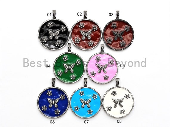 35mm LARGE Enamel Colorful Round With Flower Butterfly Pendant,CZ Micro Pave Oil Drop Round pendant,Enamel pendant,Enamel Jewelry,sku#F571