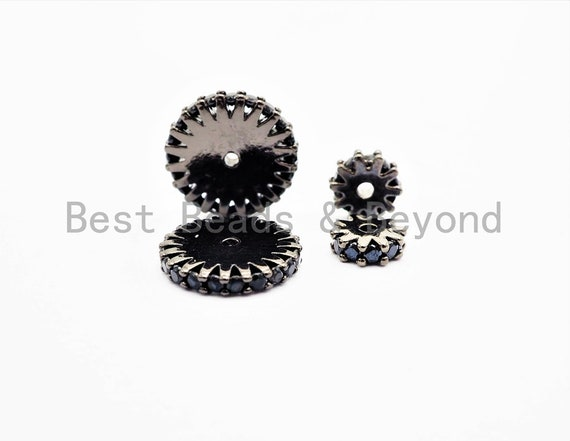 Black CZ Micro Pave On Black Flower Wheel Spacer Beads, Cubic Zirconia Coin Spacer Beads, Micro Pave Beads,6/8/10/12mm, sku#C73