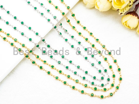 1 Foot/Yard-Green Beaded Chain-4mm/6mm/8mm Jade Gemstone Beads Chain-Gold Silver Gunmetal Plated Bezel Rosary Chain, Bezel Connector, sku#A1