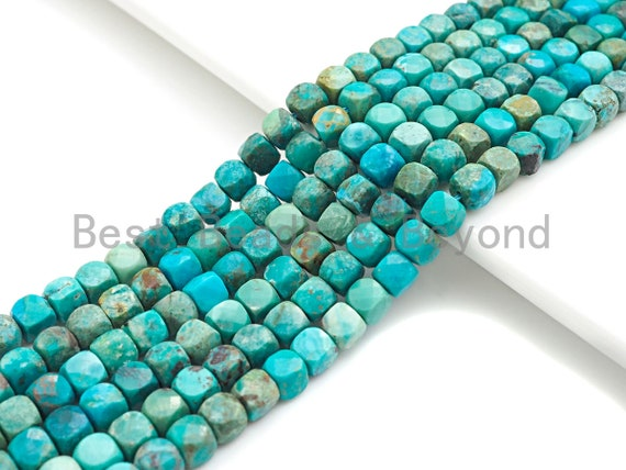 """High Quality Natural Turquoise Cube Beads, 5mm Turquoise Faceted Cube beads, 16"""" Full strand, sku#U814"""