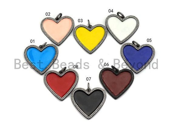 38mm Large Enamel Colored heart Pendant, Gold/Rose gold/Black/Silver, CZ Micro Pave Oil Drop Heart pendant,Enamel Jewelry,sku#F598