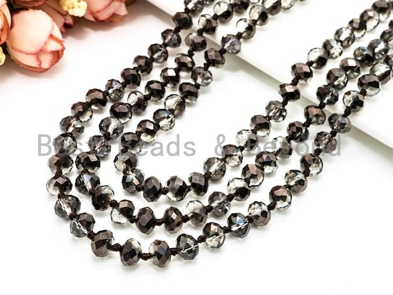 Long Hand knotted crystal Necklaces, 5x8mm faceted crystals, Extra Long Necklace, 60inch/36inches Necklace, Hematite Color SKU#D8