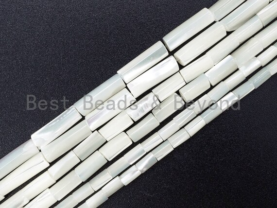 High Quality White Mother of Pearl, Mop Shell, White Shell, Cylinder/Tube Smooth Beads,3x4mm/3x5mm/4x8mm/4x13mm, 15inch strand, sku#T34