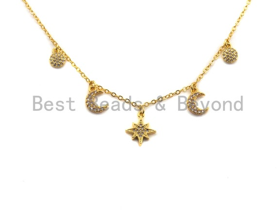 Gold Moon Star Coin Charm Necklace, Pave Charm Necklace, Layering Necklace, Gold Charm Jewelry, sku#Z708