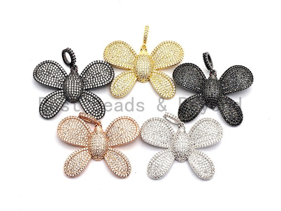 CZ Clear/Black Micro Pave Butterfly Flower Pendant, Cz Pave Pendant, Gold/Rose Gold/Silver/Gunmetal plated, 29x39mm, Sku#F773