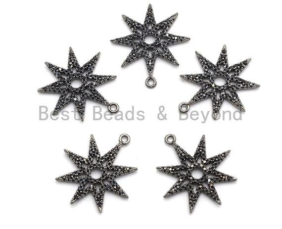 Black CZ Pave On Black Micro Pave Star Pendant/Charm,Cubic Zirconia Paved Charm, Necklace Bracelet Charm Pendant,19x21mm,1pc, sku#B99