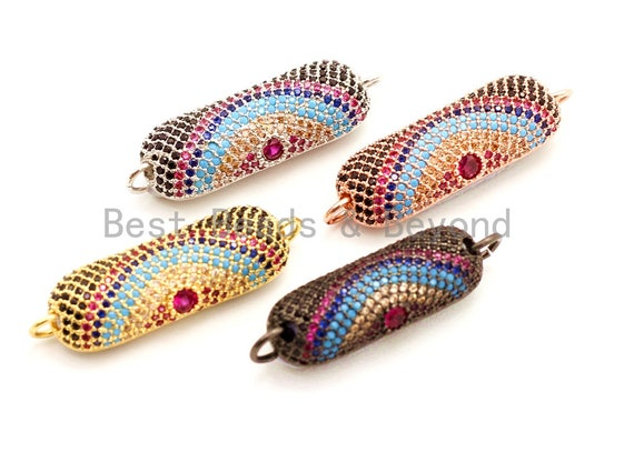 CZ Micro Pave Rainbow Half Tube Evil Eye Bracelet/Necklace Connector, Cubic Zirconia Connectors, 11x31mm, sku#E31