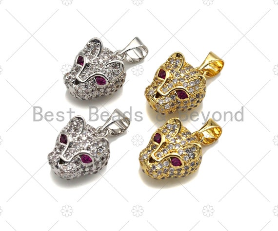 CZ Micro Pave Leopard Head With Fuchsia Eye Pendant, Gold/Silver Plated Jewelry, Panther Charm Pendant, 10x13mm,sku#F1216