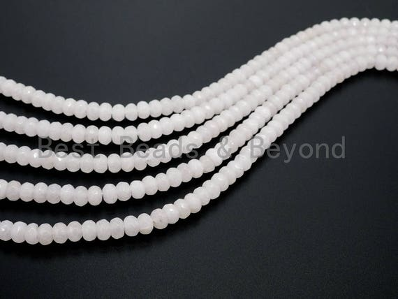 Natural White Faceted Rondelle Jade beads,4x6mm/5x8mm/6x10mm Faceted White Gemstone beads, Natural Jade Beads, 15.5inch strand, SKU#U125