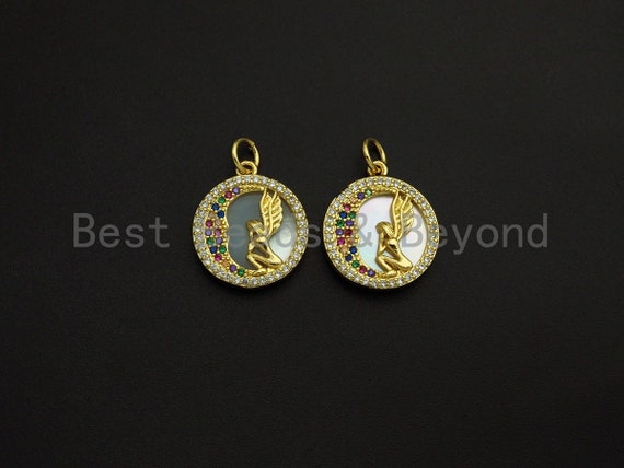 Mother-of-pearl Inlay Angel Colorful CZ Round Pendant/Charm, Angel Colorful Moon Cubic Zirconia Pendant,15mm,Sku#Z1099