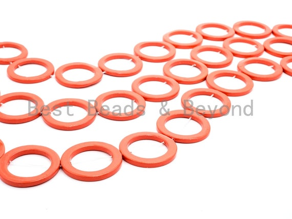 40mm Natural Mother of Pearl Beads, Coral Color O Ring Gemstone Beads, Pearl Shell Beads, 15inch full strand, SKU#U190