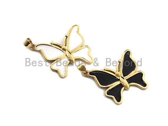Enamel Bufferfly Pendants Charms, Metal Gold Enamel Butterfly Pendant, Black White Enamel Bufferly, 25x28mm,sku#Z405