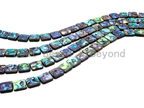 8mm/10mm/12mm/14mm/16mm Quality Natural Abalone Flat Square Shell beads, Wholesale Smooth Abalone Shell Beads, 16inches Full strand,SKU#R7