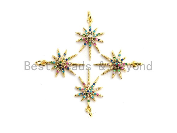 CZ Colorful Micro Pave North Star Pendant, Star Shaped Pave Pendant, Gold plated, 13x20mm, Sku#F739