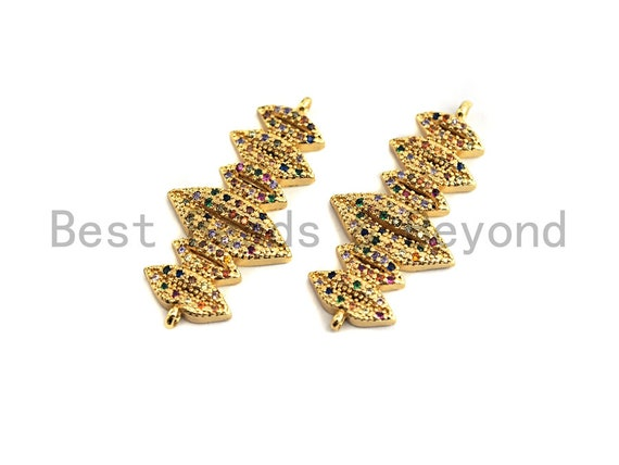 PRE-SELLING Colorful CZ Micro Pave Six Lips Connector/Link, Cz Pave Bracelet Necklace Connector in Gold Finish,17x34mm,sku#M253