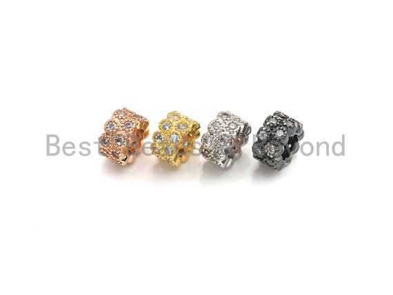 PRESELLING CZ Pave Big Hole beads, Cubic Zirconia Round Spacer Beads, European Large hole Bead, 5x8mm, sku#Z878