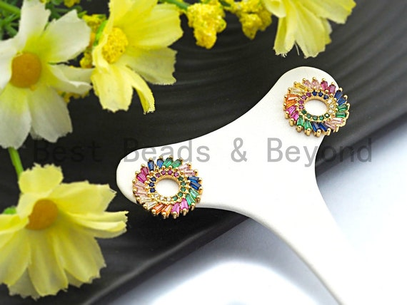 Pre-Selling Colorful CZ Micro Pave Earring Round Ring Sunflower Shaped Earring ,CZ Gold Stud Earring,15x15mm,sku#J118