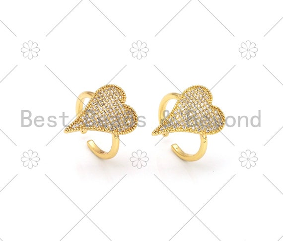 CZ Micro Pave Big Heart Shape Adjustable Ring,18K Gold Filled Cubic Zirconia Open Ring, CZ Heart Ring, 21mm,Sku#X233