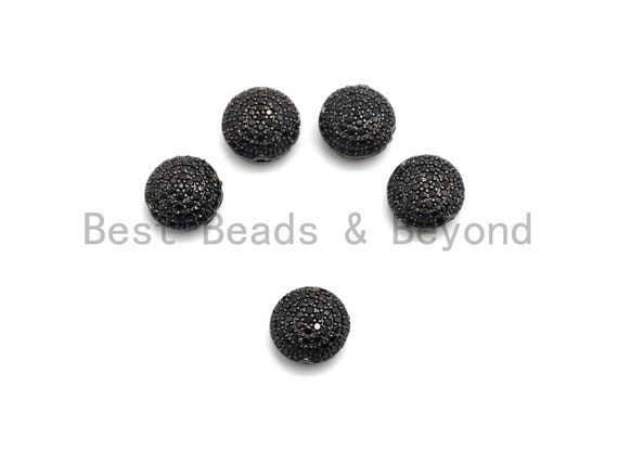 Black CZ Pave On Black Micro Pave Button Round Spacer Beads for Bracelet/Necklace, Spacer Beads, 11mm, sku#C98