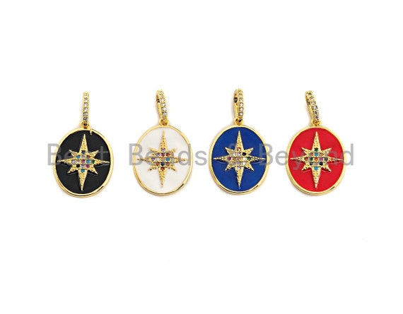 Enamel Colorful North Star On Oval Pendant,CZ Micro Pave Oil Drop pendant,Enamel pendant,Enamel Jewelry,16x22mm,sku#F976