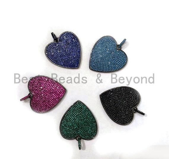Colored CZ Micro Pave Heart Pendant, Heart Shaped Pave Pendant, Turquoise/Cobalt Blue/Green/Fuchsia/Black,10mm/30mm, Sku#ML100