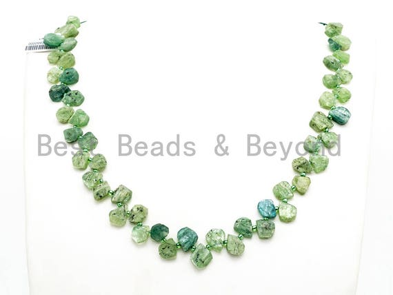 Quality Natural Kyanite beads, 11-14mm Teardrop Natural Green Gemstone Beads, 15.5 inch strand, SKU#U158