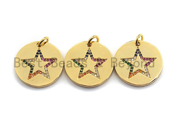 PRE-SELLING CZ Colorful Micro Pave Round Gold With Five Star Pendant, Coin Shaped Pave Pendant, Gold plated, 21x21mm, Sku#F869