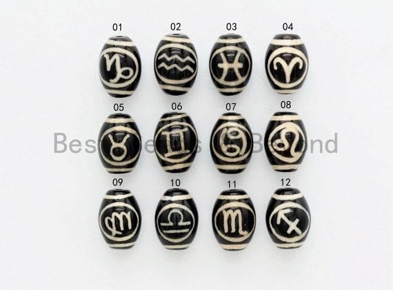 Zodiac Agate Beads, Zodiac Jewelry,  Astrology Jewelry, Zodiac Sign Black Onyx Beads, Birthday gift, 10x14mm, sku#U382