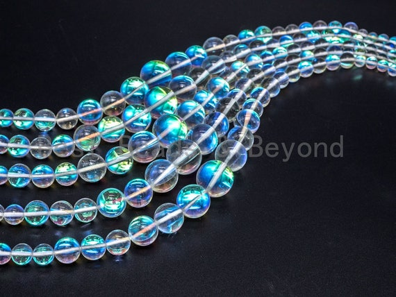Manmade Rainbow Moonstone Graduated Beads Strand, 6mm-16mm, Loose Clear translucent round manmade Moonstone, 15.5inch FULL strand, SKU#U78