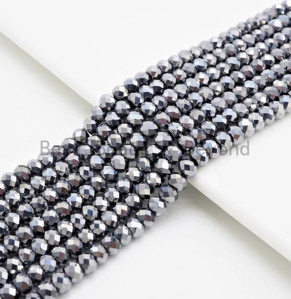 Quality Gray Rondelle Tera Hertz Beads,1x2/3x4/3x5/5x8mm Rondelle Faceted Beads, Bright Gray Beads,15inch strand,SKU#U376