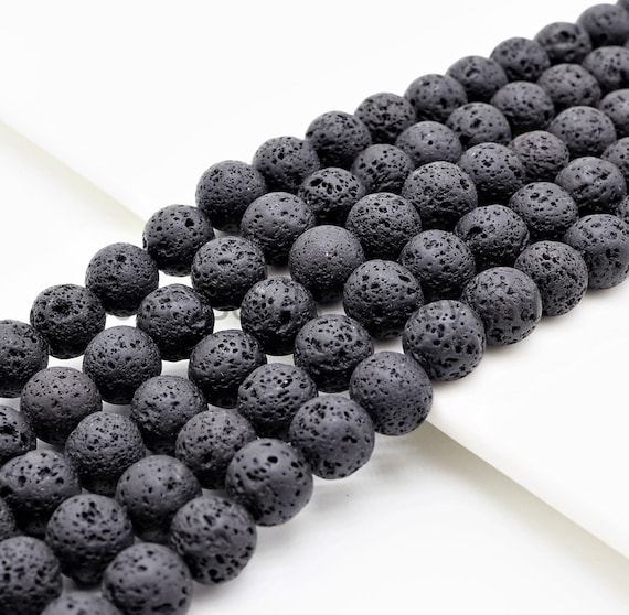 "Black Lava Round Beads, 4mm/6mm/8mm/10mm/12mm/14mm Black Gemstone Beads,15.5"" Full Strand,SKU#U299"