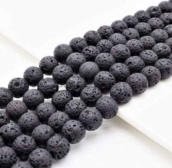 "Wholesale Black Lava Round Beads, 4mm/6mm/8mm/10mm/12mm/14mm Black Gemstone Beads,15.5"" Full Strand,SKU#U299"