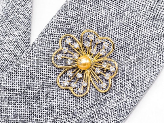 CZ Micro Pave Large Filigree Flower Brooch/Pin with 10mm Round Shell Pearl ,Gold plated, Pave Flower Brooch Pin Jewelry, 47x47mm, Sku#P33