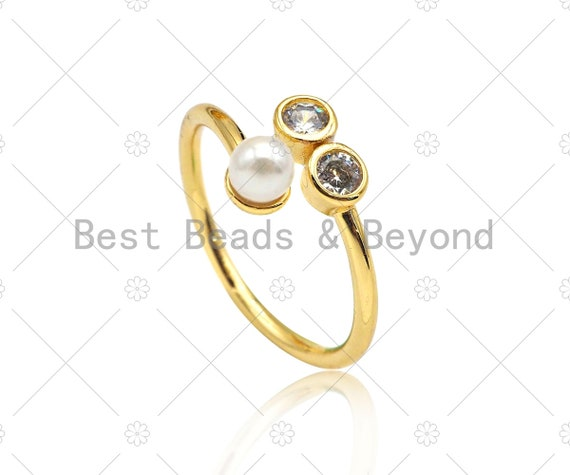 CZ Micro Pave with Pearl Adjustable Ring,18K Gold Filled Open Ring, Mother of Pearl Ring, 20mm,Sku#X210