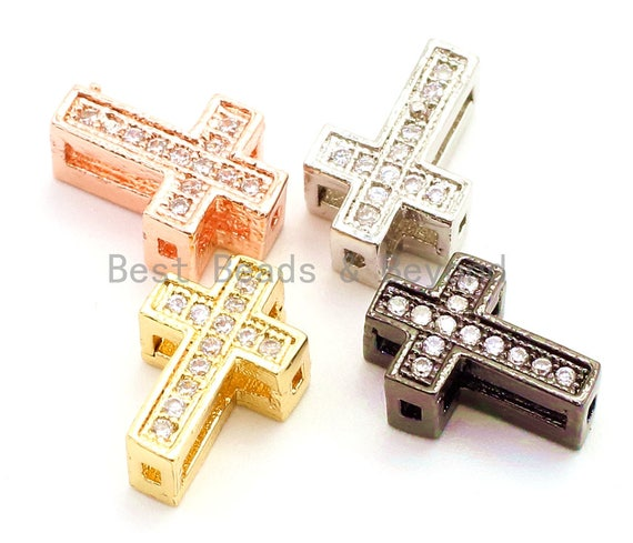 CZ Micro Pave Cross Spacer Beads, Cubic Zirconia Space Beads, Gold Rose Gold Silver Black Cross Space Beads, 13x10mm,1pc/5pcs, sku#G74