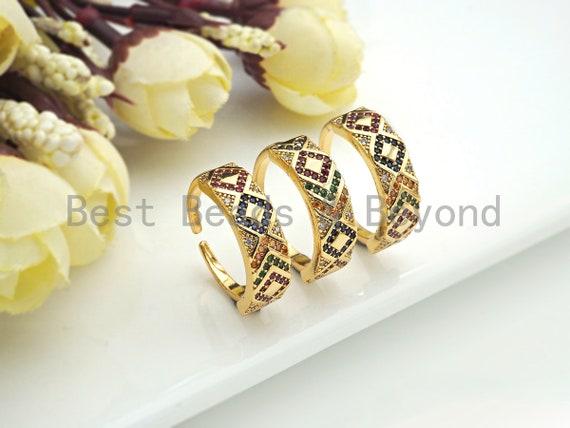 Multi CZ Pavé Band Ring, Open Band Ring, Dainty Gold Ring, Diamond Patten Ring, Fashion Jewlery, sku#X163