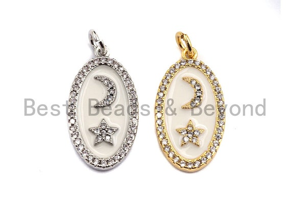 CZ Pave Enamel Oval With Star And Moon Pendant, Gold/Silver, CZ Micro Pave Oil Drop Oval pendant,Enamel Jewelry,12x23mm,sku#Z401
